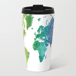 World map in watercolor rainbow Travel Mug