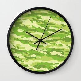 Green Kelp Camo Pattern Wall Clock