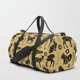 Folk Art Forest Animals, Mustard Duffle Bag