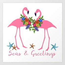 Seas and Greetings Flamingo Christmas Art Print