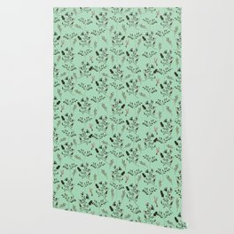 Mint Green and Bluebells and Bluebirds Floral Pattern Flowers in Blue and Bark Brown Wallpaper