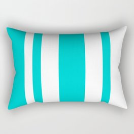 Mixed Vertical Stripes - White and Cyan Rectangular Pillow