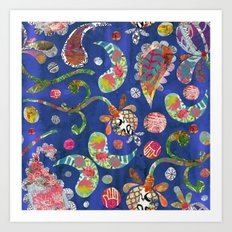 Blue Paisley Collage Art Print
