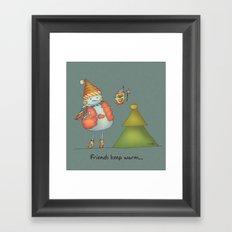 Friends keep warm - greyish Framed Art Print