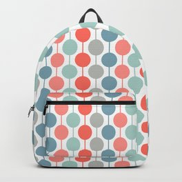 Coral Geometric Circles Retro Mid Century Modern Backpack