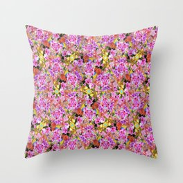 Tropical Tiger And Hibiscus Flowers Throw Pillow
