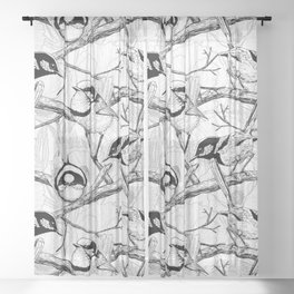 Fairy wrens in black and white Sheer Curtain