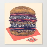 burger Canvas Prints featuring burger by mr. louis