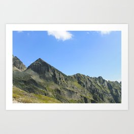 Mountain summit in the clear sky. Art Print