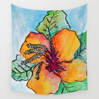 hibiscus Wall Tapestries featuring hibiscus  by Cristina White-Jones