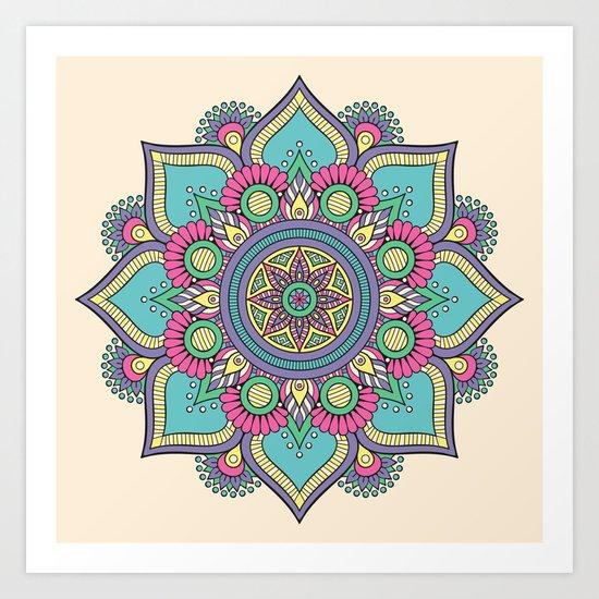 Colorful Abstract Floral Mandala Art Print