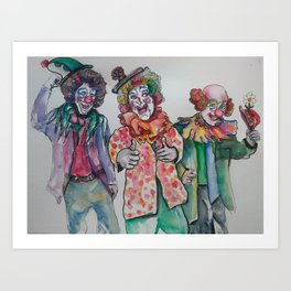 3 clowns Art Print