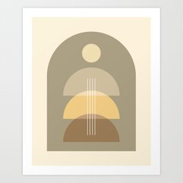 Abstraction Shapes 2 in Neutral Shades (Sun, Moon Phases and Window) Art Print