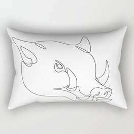 Wild Pig Head Continuous Line Rectangular Pillow