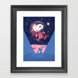 Snoopy on the moon Framed Art Print