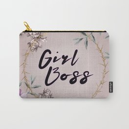 Floral Lavender Beige Girl Boss Quote Carry-All Pouch