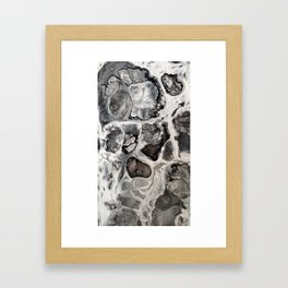 """Black, Silver and White Fluid Painting - """"Obsidian"""" Rock Framed Art Print"""