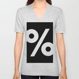 Percent Sign (White & Black) Unisex V-Neck