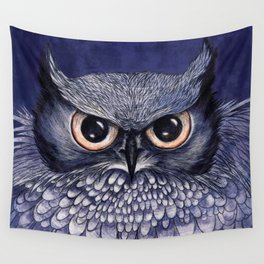 La Sagesse du Hibou (The Blue Owl) Wall Tapestry