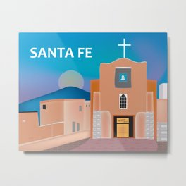 Santa Fe, New Mexico - Skyline Illustration by Loose Petals Metal Print