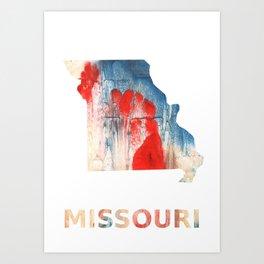 Missouri map outline Red Blue nebulous watercolor Art Print
