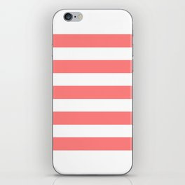 Coral White Stripes iPhone Skin