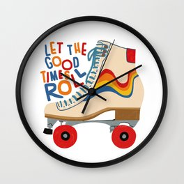 Rainbow Rollerskates Let the good times roll Wall Clock