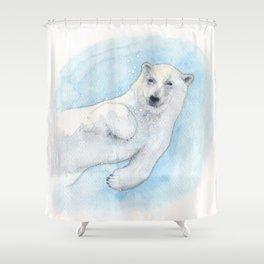 Polar bear underwater Shower Curtain