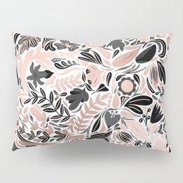 Rose Gold Black Floral Leaf Illustration Pattern Pillow Sham