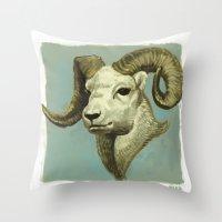 ram Throw Pillows featuring Ram by Merz