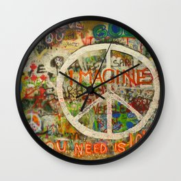 Peace Sign - Love - Graffiti Wall Clock
