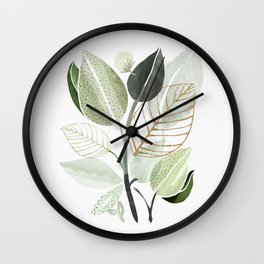 Forest Bouquet - Green Leaves Watercolor Wall Clock