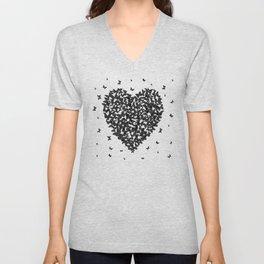 Heart - summer card design, black butterfly on white background Unisex V-Neck