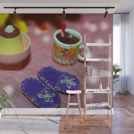 Cake, Slippers and Hot Chocolate Wall Mural