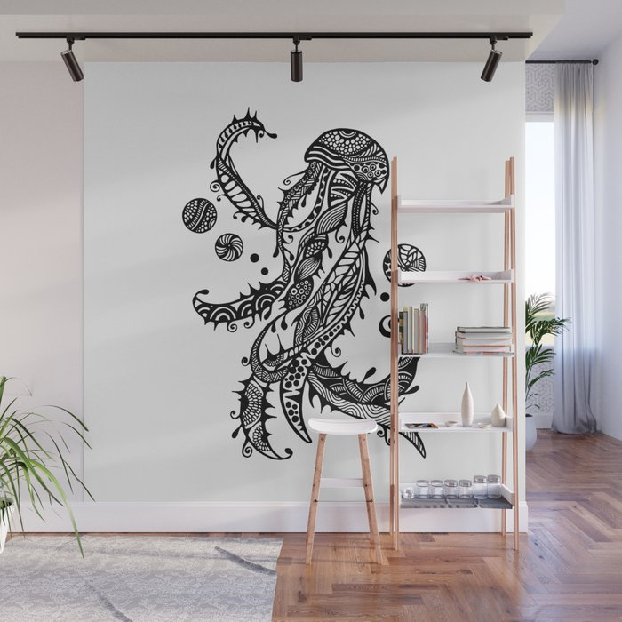 Jellyfish Black White Doodle Art Wall Mural