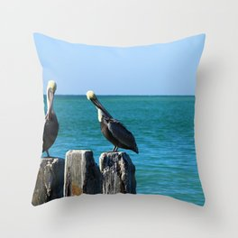 Two Old Guys On A Jetty Throw Pillow