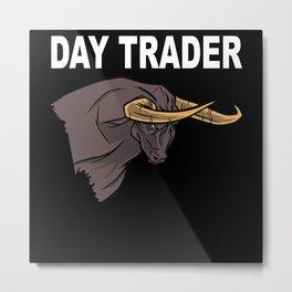 Stock Exchange Capitalism Daytrader Bull Metal Print