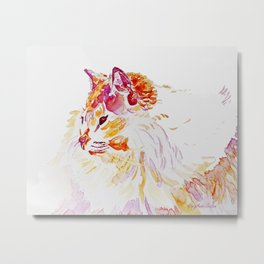 Siamese Kitty Cat watercolour by CheyAnne Sexton Metal Print
