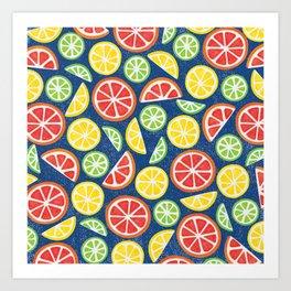 Vitamin C Super Boost - Citric Fruits on Blue Art Print