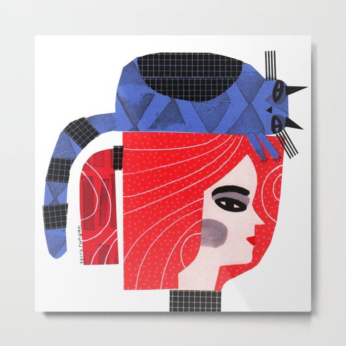 BLUE CAT ON HEAD Metal Print