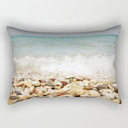 Little stones meet the sea Rectangular Pillow