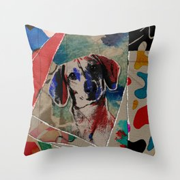 Dachshund Abstract mixed media digital art collage Throw Pillow
