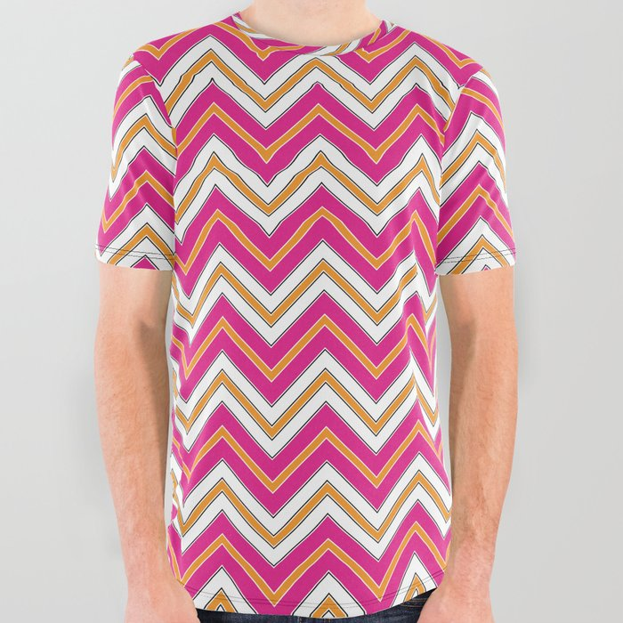Chevron Pattern | Zig Zags | Pink, Orange, Black and White | All Over Graphic Tee