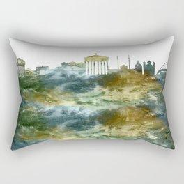 Athens City Skyline Greece Rectangular Pillow