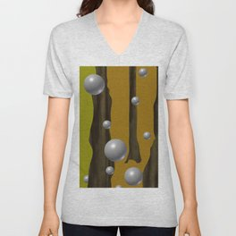 one red ball in the forest. Unisex V-Neck