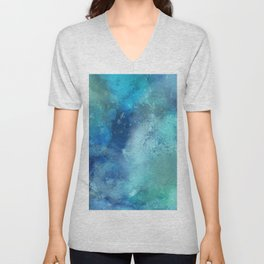 Abstract navy blue teal turquoise watercolor pattern Unisex V-Neck