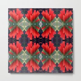 Pattern with Red Flowers Metal Print