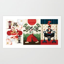 Oiran and Andon・Samurai sword and pine and Japanese flag・Ninja and candlesticks(remake) Art Print