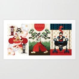 Oiran and Andon・Samurai sword and pine and Japanese flag・Ninja and candlesticks(remake) Art Print