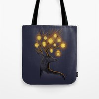 yellow Tote Bags featuring Dream Guide by Freeminds